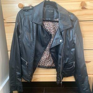 Faux Leather Jacket w Leopard Interior